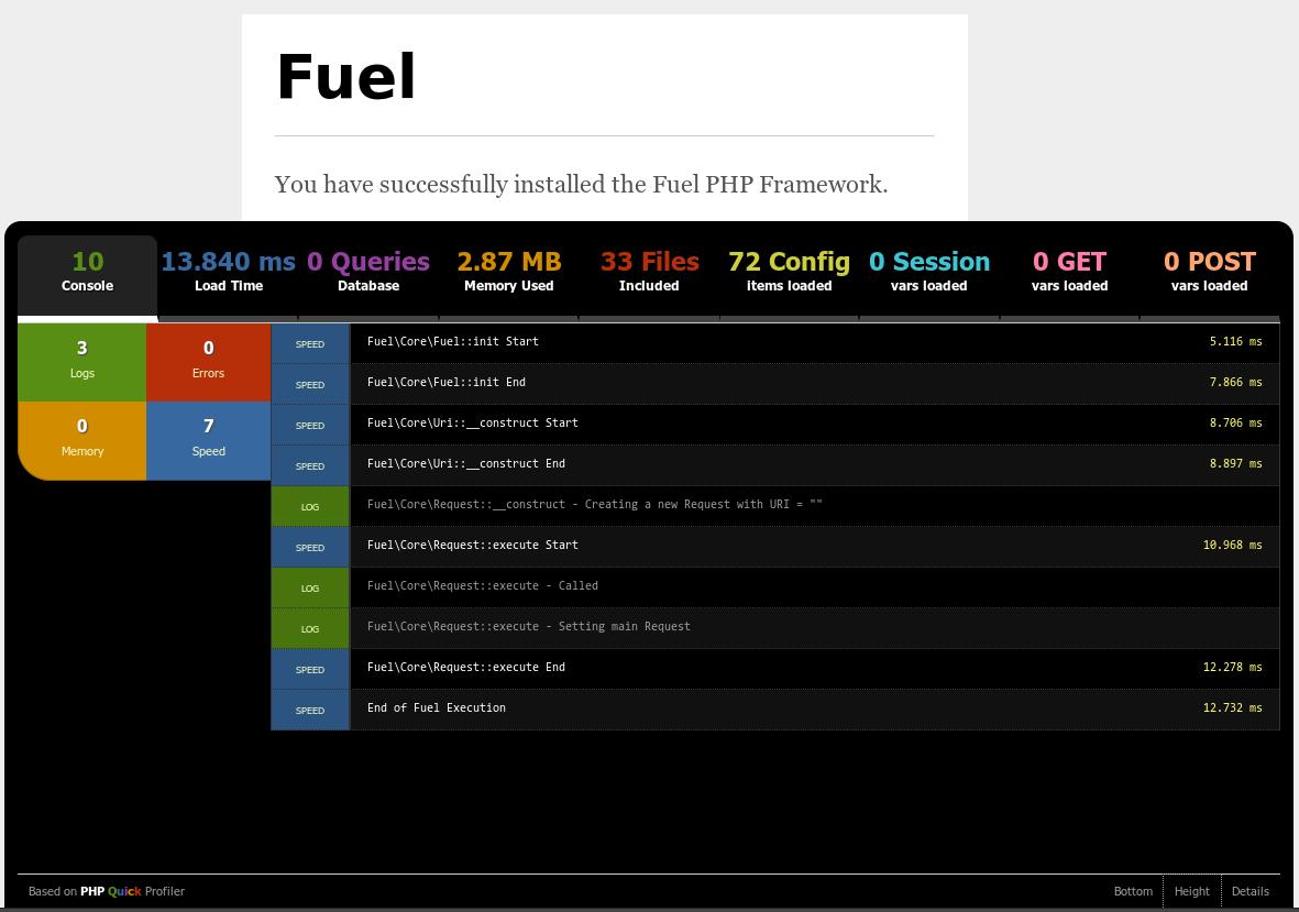 fuelphp profiler